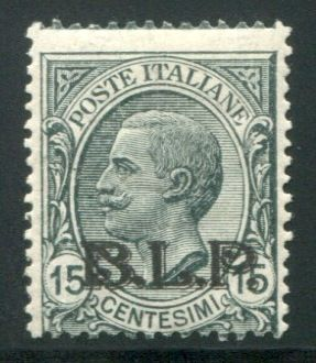 Italy, Kingdom, 1922 – BLP 15 cent. with black overprint – Sass. No. 6A.