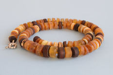 Baltic Amber necklace multi colour, not pressed, not heated, weight: 27,32 gr.