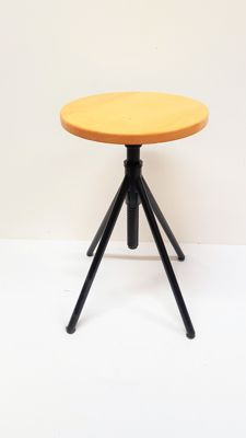 Wooden adjustable piano stool with a metal base, 20th century, Netherlands
