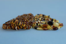 Set of 2 Baltic Amber vintage necklaces multicolored, not pressed, not heated, weight: 94,60 gr., No Reserve