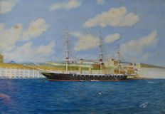 J H Dobson (20th century) - HMS Black Prince, Grand Harbour, Malta