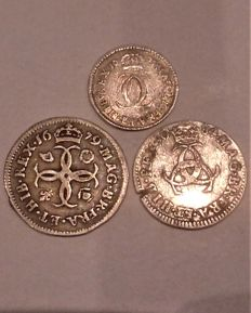 United Kingdom - 2 Pence 1675 and 3 Pence 1684 + 4 Pence 1679 Charles II - silver
