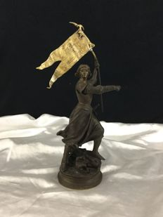 Adrien Etienne Gaudez (1845-1902) - 'Joan of Arc' - Patinated bronze - France - end of the 19th century