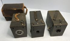 3 x box camera A Kodak from 1916, a Coronet Birmingham from 1935 and 1 x unknown