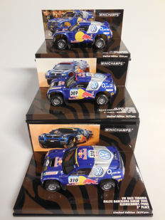 Minichamps - Scale 1/43 - Lot with 3 x Volkswagen Race Touareg