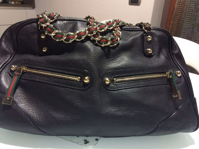 Gucci -  Leather Vintage Web Chain Princy Boston Bag