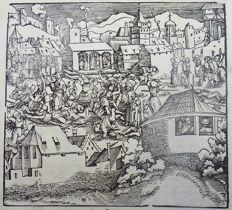 Master of Petrarch [Hans Weiditz 1495-1537] - Large Woodcut on folio leaf: Civil War [ Bürgerkrieg - Guerre civile - Burgeroorlog - Guerra civile] 1532