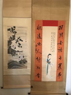 Hand-painted scroll painting´s after famous artists - China - late 20th century