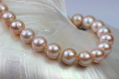 Freshwater cultured pearl necklace pink - 10.5 - 12 mm