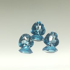 Set of Swiss blue topazes, 11.05 ct in total