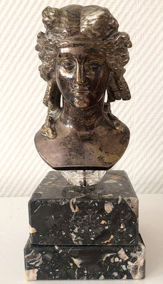 Bronze bust of a young woman on two marble feet – France, mid 20th century