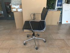 Charles Eames produced by ICF - Blue leather office chair, model EA-117