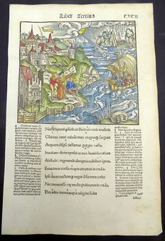 Gruninger Master; Virgil - Brandt Edition - Aeneid: The Trojans Set Sail of Italy. Large storm Clouds Gather - 1502