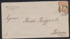 German Empire 1874 - 9 on 9 Kr. on letter from Frankfurt to Italy, Michel no. 30