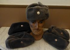 5 x Winter hats of the East German army