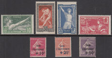 France 1924/1930 - Various issues - Yvert nos. 183/186 and 266/268