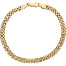 18 kt - Yellow gold link bracelet of 4.5 mm wide - Length: 19.7 cm
