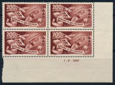 Saarland - 1950 - admission to the Council of Europe 200 F in block of four from the right corner print date, Michel 298 Br