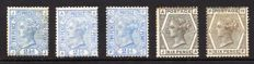 Great Britain, Queen Victoria - SG142 SG147 and SG157 21/2d Blues and 6d Greys