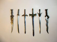 Lot of 6 decorative daggers and swords letter openers