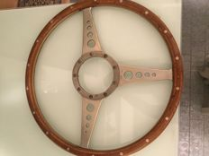 Moto-lita steering wheel in riveted wood and steel, diameter inside 34cm, outside 37cm