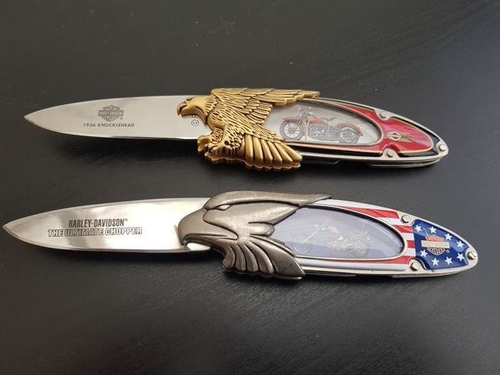 Franklin Mint - 2X Official Harley Davidson Collector's Knife - 1936 Knucklehead & The Ultimate Chopper - Limited Edition