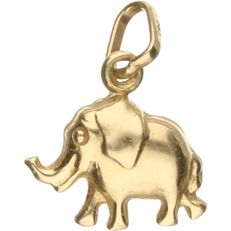 14 kt yellow gold pendant in the shape of an elephant - Length x width: 1.5 x 1.2 cm