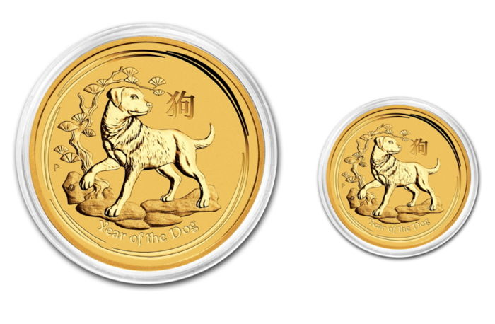 Australia - 5 & 15 Dollars 2018 Year of the Dog (2 coins) - 1/20oz + 1/10oz .999 - Oro