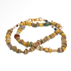 Egyptian Steatite, Faience and Glass Beads Necklace, Total length= 50.9 cm L