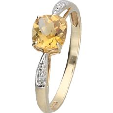 BLGG 10 kt - yellow gold ring set with citrine and 2 diamonds of approx. 0.02 ct - ring size: 17.5 mm