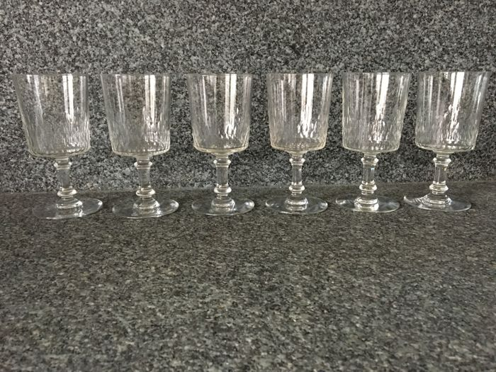 Baccarat 6 Crystal Water Glasses Model Richelieu Cylindrique