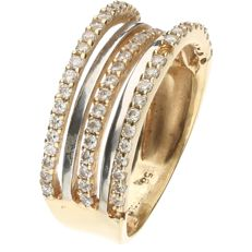 14 kt bicolour white/yellow gold decorated ring set with zirconia  - ring size: 16 mm
