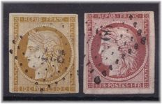 France 1949/50 - Yvert 1 and 6 - signed Brun