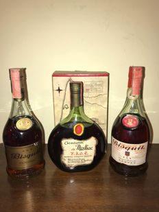 1x Grand Armagnac Malliac v.s.o.p. & 2x Cognac Bisquit *** - 3 bottles in total