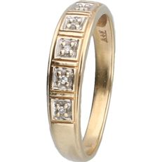 14 kt - Yellow gold ring set with 5 brilliant cut diamonds of approx. 0.025 ct - ring size: 18 mm