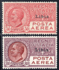 Libya 1928/1929 - Airmail overprinted, complete series of 2 stamps - Sass.  N°  S46