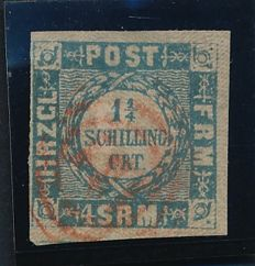 Holstein and Lauenburg - 1864 - 1 1/4 schilling blue with red 3 - ring cancellation 131 from Preetz on Michel 6 with Möller photo attest
