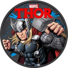 Tuvalu - Dollar 2018 'Marvel Thor' with black ruthenium and colored - 1 oz silver