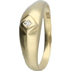 14 kt - Yellow gold ring set with a diamond of approx 0.01 ct - ring size: 17.75 mm