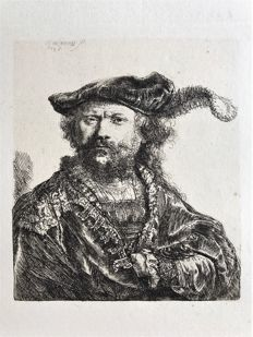 Rembrandt van Rijn (1606-1669). Self portrait in a velvet cap with plume, 1638. Print made with Amand Durand techniques c. 1880