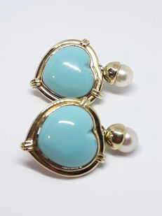 Earrings with turquoise paste and natural pearls - 18 kt yellow gold