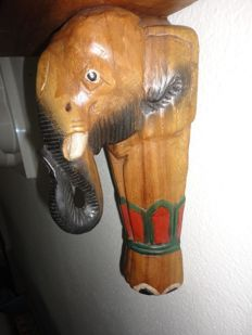 African wood carving of an elephant, solid, 30 x 15 cm, ca. 1960