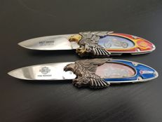Franklin Mint - 2X Official Harley Davidson Collector's Knife - Panhead & Billy Bike - Limited Edition