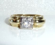 Ring, 14 kt / 585 gold with 0.25 ct diamond solitair G/VS Ring size 51-51 adjustable