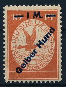"German Empire/Reich 1912 - ""airmail on the Rhine and Main 1 M on 10 Pf with overprint Yellow God"" - Michel IV, verified Brettl"