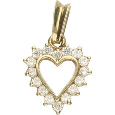 14 kt Yellow gold pendant in the shape of a heart, set with zirconia. - length x width: 2 x 1 cm