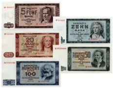 Germany (GDR) - 5, 10, 20, 50 & 100 Marks 1964 - Pick 22-26