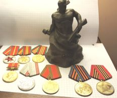 Signed metal figure of the War Hero - 3 rare medals for 10.15 and 20 years of service in the Soviet Army,+ + 5 occasional medals (9 pieces together