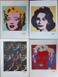 Marilyn Monroe and Liz Taylor lithographs by Andy Warhol (after) - Handnumbered and printed signature