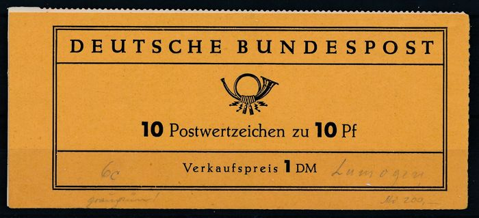 Federal Republic - 1960 - stamp booklets Heuss I, fluorescent paper (test booklet) Michel 6 c a II